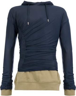 Y/Project contrasting panel ruched hoodie