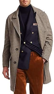 Brunello Cucinelli Men's Cashmere-Blend Glen Plaid Overcoat