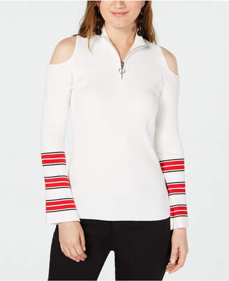 INC International Concepts I.n.c. Zip-Front Cold-Shoulder Sweater, Created for Macy's