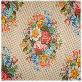 Gucci The stamp and flowers print modal silk shawl