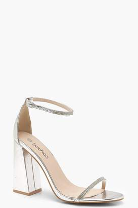boohoo Metallic Block Heel Diamante 2 Part Heels