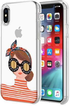 Rifle Paper Co. Protective Case for iPhone XR- Hello Gorgeous Orange/Clear/Gold Foil