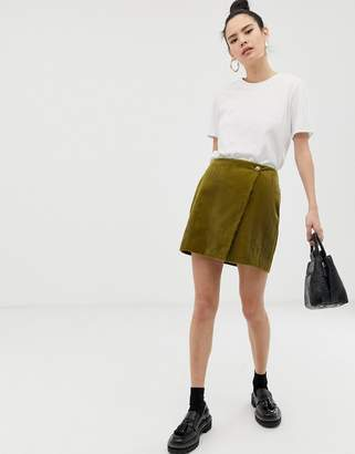 Asos Design DESIGN mini skirt with wrap in cord