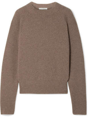 The Row Bowie Ribbed Cashmere Sweater - Mushroom
