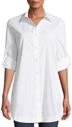 Misook Button-Front Shirt w/ Painter's Pockets, Petite