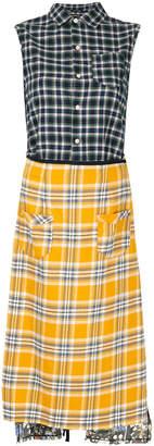 R 13 contrast plaid dress