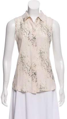Theory Silk Sleeveless Printed Button-Up Top