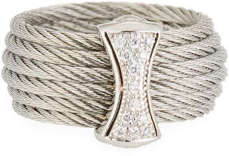 Alor Classique Steel & 18k Diamond Micro Cable Ring, Size 7, Silvertone