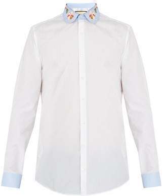 Gucci Floral Embroidered Striped Cotton Shirt - Mens - White Multi