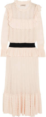 Temperley London Cypre Ruffled Pointelle-knit Midi Dress - Cream