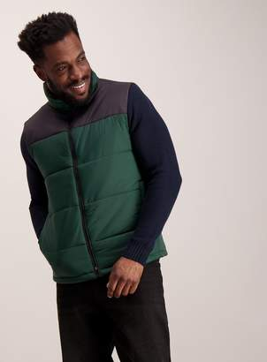Green & Black Tu Thermolite Green Black Colour Block Padded Gilet