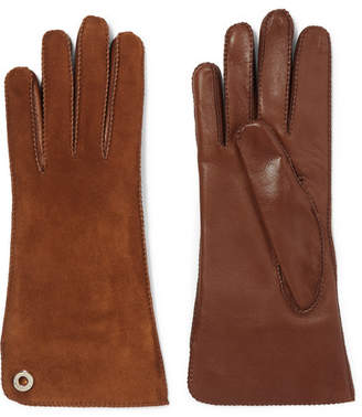 Loro Piana Leather And Suede Gloves - Brown