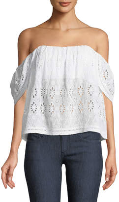Lovers And Friends Life's A Beach Off-The-Shoulder Eyelet Blouse