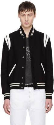 Saint Laurent Black & White Teddy Bomber Jacket