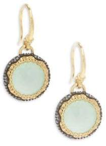 Armenta Old World White Diamond, Chrysoprase, Moon Quartz & 18K Goldplated Sterling Silver Drop Earrings