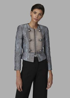 Giorgio Armani Cloque Fabric Jacket With Croc-Print Faux Leather Bib Front