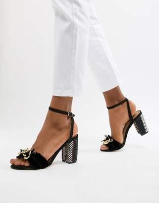 9c2d6f92d30 Glamorous Block Heel Metal Trim Sandals