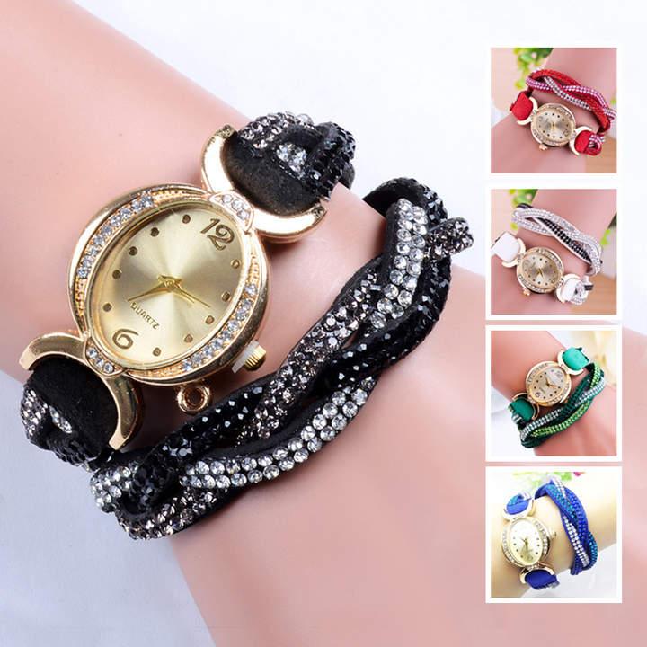 Wickel-Armbanduhr mit Glassteinen