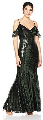Cambridge Silversmiths Women's V-Neckline Off-Shoulder Sequin Evening Gown 0