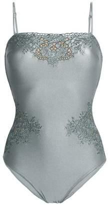 Zimmermann Embroidered Metallic Swimsuit