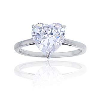 Decadence Women's Sterling Rhodium 10mm Heart Solitaire Ring