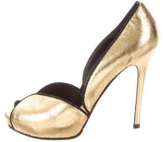 Alexander McQueen Metallic Gold Peep-Toe Pumps
