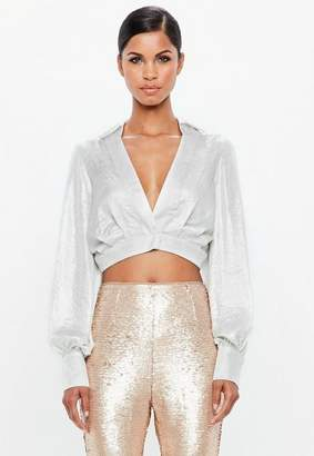 Missguided Silver Metallic Cropped Wrap Blouse