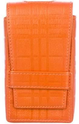 Burberry Embossed Leather Phone Case Orange Embossed Leather Phone Case