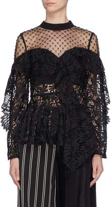 Self-Portrait Beaded mesh yoke asymmetric ruffle lace top