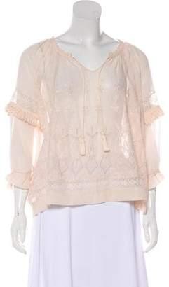 Ulla Johnson Embroidered Silk Long Sleeve Top