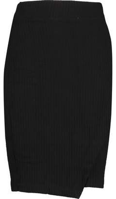 Splendid Wrap-Effect Ribbed Jersey Mini Skirt