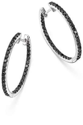 Bloomingdale's Black Diamond Inside Out Hoop Earrings in 14K White Gold, 1.35 ct. t.w. - 100% Exclusive