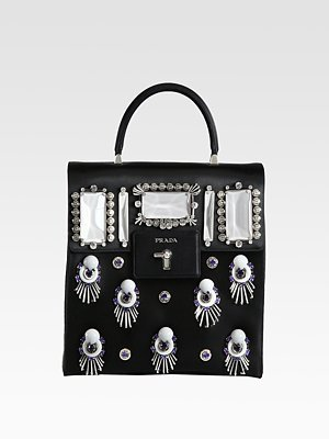 Prada Raso Ricamo Satin Top Handle Bag