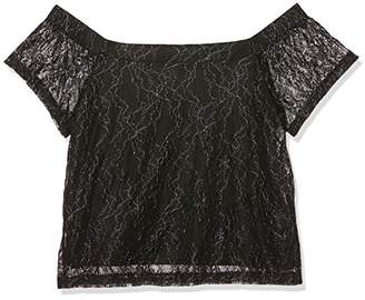 New Look 915 Girl's 5438824 T-Shirt, (Black Pattern), (Size: 153)