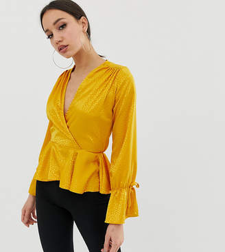 John Zack Tall wrap front top in textured mustard
