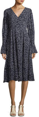 ALEXACHUNG Alexa Chung V-Neck Long-Sleeve A-Line Printed Midi Dress