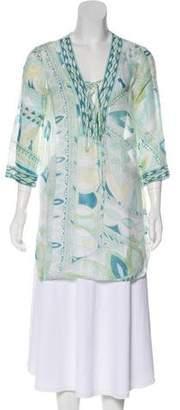 Emilio Pucci Printed Lace-Up Tunic