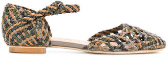 Santoni woven ankle strap pumps