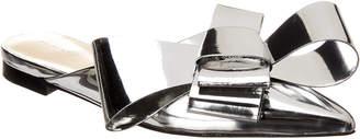 DELPOZO Bow Metallic Patent Flat Mule