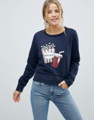 Only Sunny Popcorn Sequined Print Sweatshirt