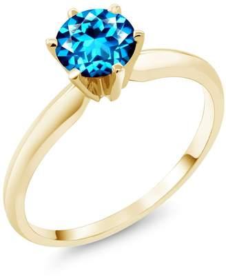 Swarovski Gem Stone King 1.00 Ct 14K Yellow Gold Engagement Solitaire Ring Natural Topaz Cut