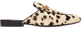 Gucci Princetown Horsebit-detailed Leopard-print Calf Hair Slippers - Leopard print