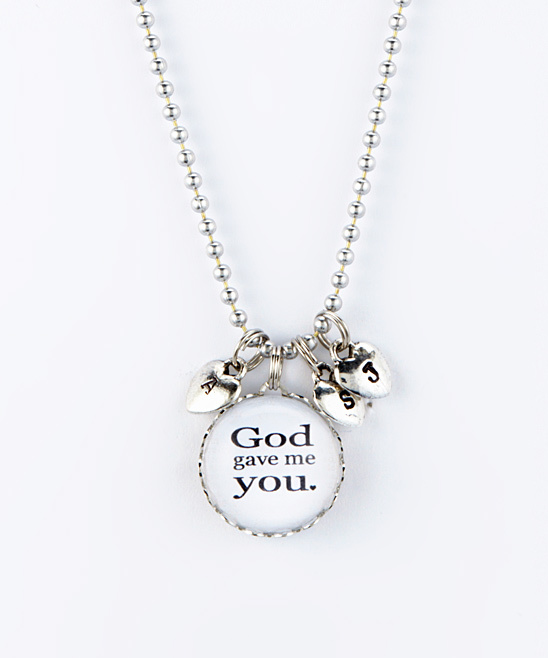 Silvertone 'God Gave Me You' Three-Heart Initial Pendant Necklace