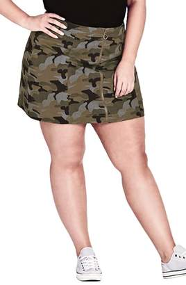 City Chic Miss Military Camo Miniskirt