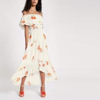 River Island Womens Cream floral print high low hem maxi dress