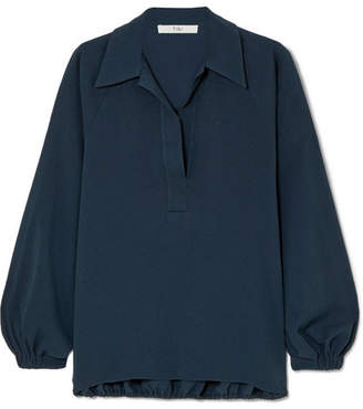 Tibi Savanna Crepe Blouse - Navy