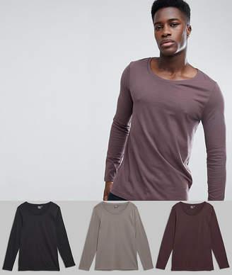 Asos DESIGN 3 pack long sleeve scoop neck t-shirt SAVE