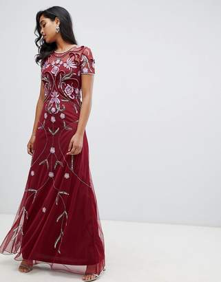 Frock and Frill Frock And Frill embellished maxi dress in berry