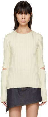 Helmut Lang Ivory Re-Edition Elbow Cut Out Sweater