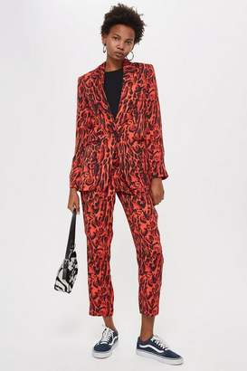 Topshop Red Leopard Suit Trousers
